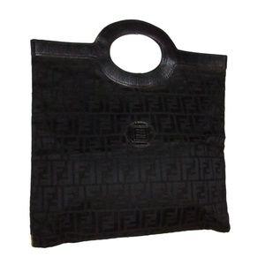 Fendi black Zucca print XL runaway tote/clutch!